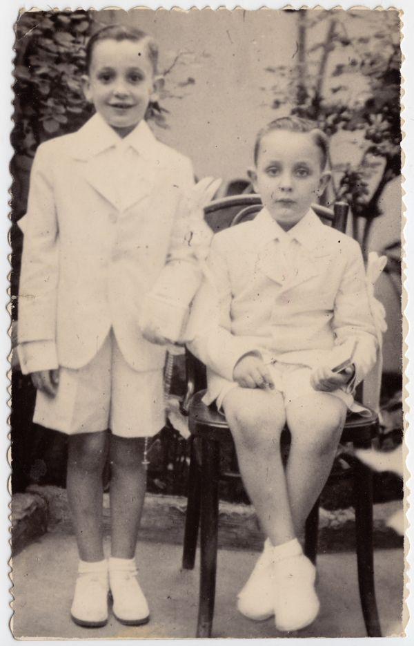 This undated handout reproduction photo made available by Maria Elena Bergoglio, shows Jorge Mario Bergoglio, left, and his b