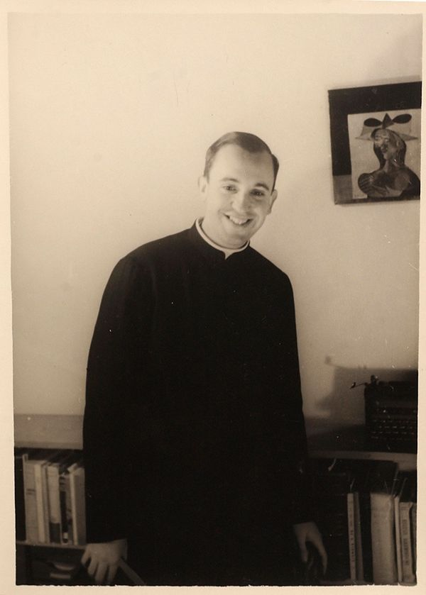 An image from 1966 of the Argentine seminarian Jorge Mario Bergoglio in the El Salvador School, where he taught literature an