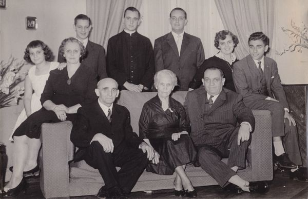 This undated handout reproduction of a photo made available by Maria Elena Bergoglio, shows the Bergoglio family as they pose