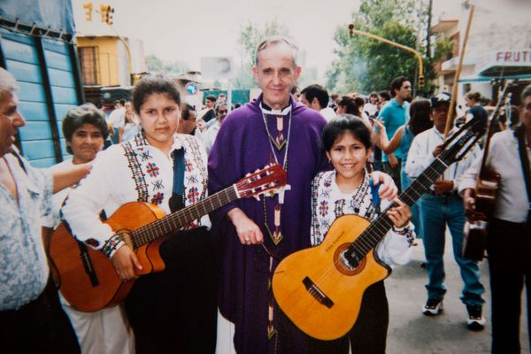 In this photograph from April of 2000 provided by the Espinola family, the then archbishop of Buenos Aires, Jorge Mario Berg