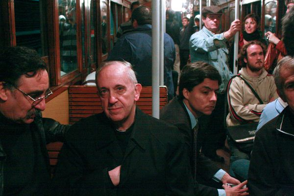 In this archive photo from 2008, the Argentine cardinal Jorge Mario Bergoglio, second from left, travels on the Buenos Aires