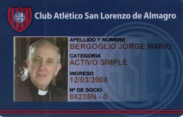 Image provided by the Argentine football club San Lorenzo de Almagro, that shows a copy of the membership card of the cardina
