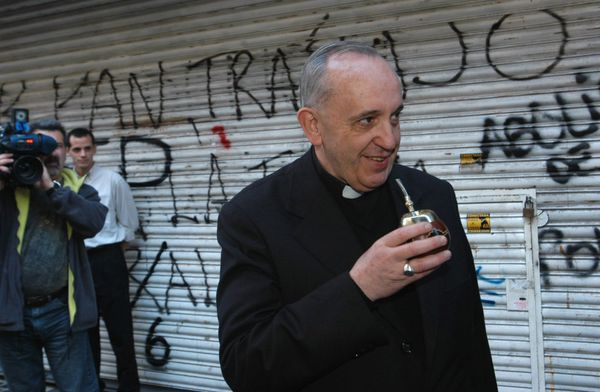 Cardinal Jorge Bergoglio drinks mate, the traditional Argentine beverage, in Buenos Aires on March 3, 2013, ten days before h