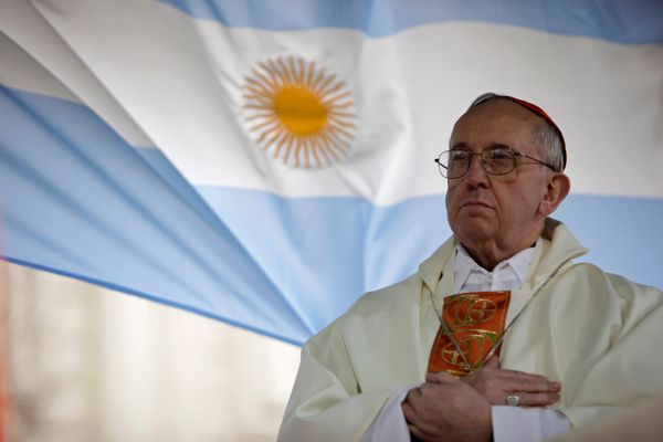 This Aug. 7, 2009 file photo shows Argentina's Cardinal Jorge Bergoglio giving a mass outside the San Cayetano church in Buen