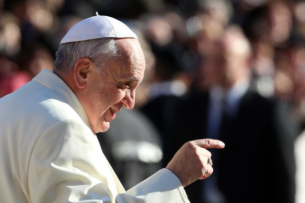 VATICAN CITY, VATICAN - DECEMBER 04:  Pope Francis arrives in St. Peter's square for his weekly audience on December 4, 2013