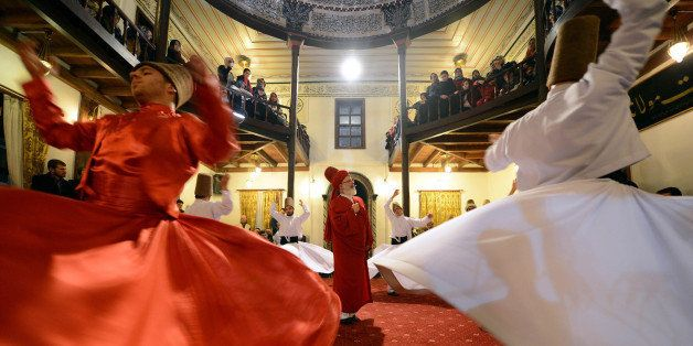 BURSA, TURKEY - JANUARY 12:  Sama performance at Islamic Monastry of Karabas-i Veli witin the Mawlid, the observance of the b