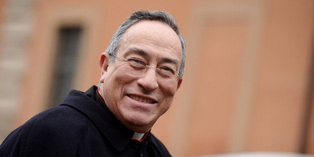Honduras' cardinal Oscar Andres Rodriguez Maradiaga arrives for an afternoon meeting of pre-conclave on March 8, 2013 at the Vatican. The next pope's ideal profile began to take shape on Tuesday as cardinals held a second day of pre-conclave talks -- a man with pastoral experience, missionary energy and few ties to the Vatican's unruly government. AFP PHOTO / FILIPPO MONTEFORTE (Photo credit should read FILIPPO MONTEFORTE/AFP/Getty Images)