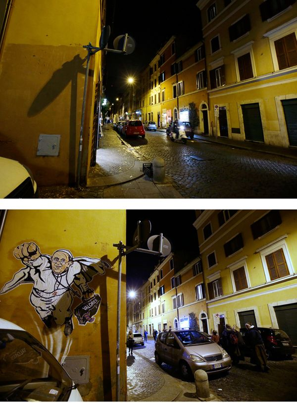 A two pictures combo showing the wall where the image depicting Pope Francis as Superman was posted, at the Borgo Pio distri