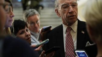 WASHINGTON, DC - OCTOBER 05:  U.S. Sen. Chuck Grassley (R-IA) speaks to reporters after a cloture vote for the nomination of Supreme Court Judge Brett Kavanaugh to the U.S. Supreme Court, at the U.S. Capitol, October 5, 2018 in Washington, DC. The Senate voted 51-49 in a procedural vote to advance the nomination of Judge Brett Kavanaugh to the U.S. Supreme Court.  (Photo by Alex Wong/Getty Images)