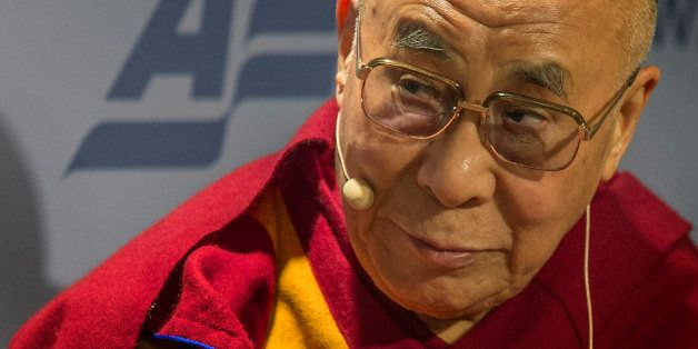 The Dalai Lama speaks at the American Enterprise Institute (AEI) during a panel discussion on 'Happiness, Free Enterprise, an
