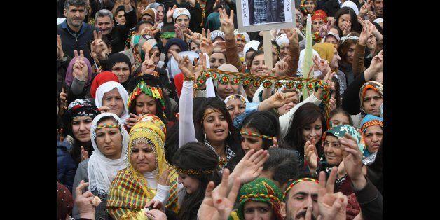 Kurds celebrate on March 17, 2013 Nowruz, the Persian New Year festival, in Ankara. The festival is celebrated in Turkey, Cen