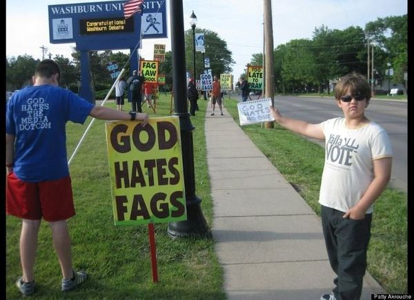 "Nine-year-old <a href=""https://www.huffpost.com/entry/westboro-baptist-church_n_1518901"" target=""_blank"">Josef Miles</a> and"