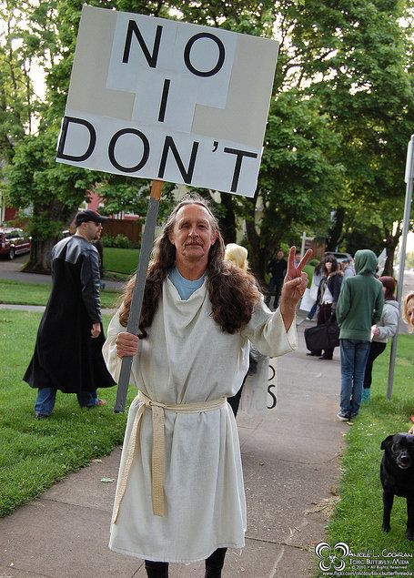 "At a <a href=""http://www.flickr.com/photos/toxicbutterflymedia/4695768464"" target=""_blank"">2010 WBC counter protest</a> in Po"