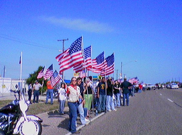 "This human wall of love and patriotism came about at the same WBC counter protest in support of the <a href=""http://www.flick"