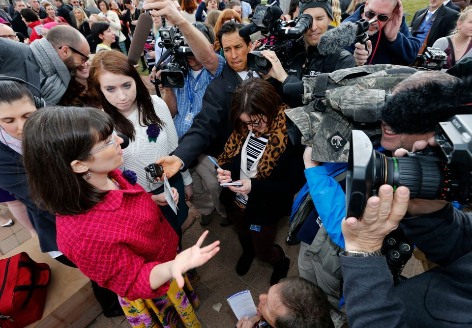 SALT LAKE CITY, UT - APRIL 5: Kate Kelly founder of  'Ordain Women' talks to the media with over 500 supporters on April 5, 2