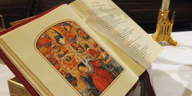 A new translation of the Roman Missal sits on the altar after the Catholic Mass Sunday, Nov. 27, 2011 at St. Peter's Catholic