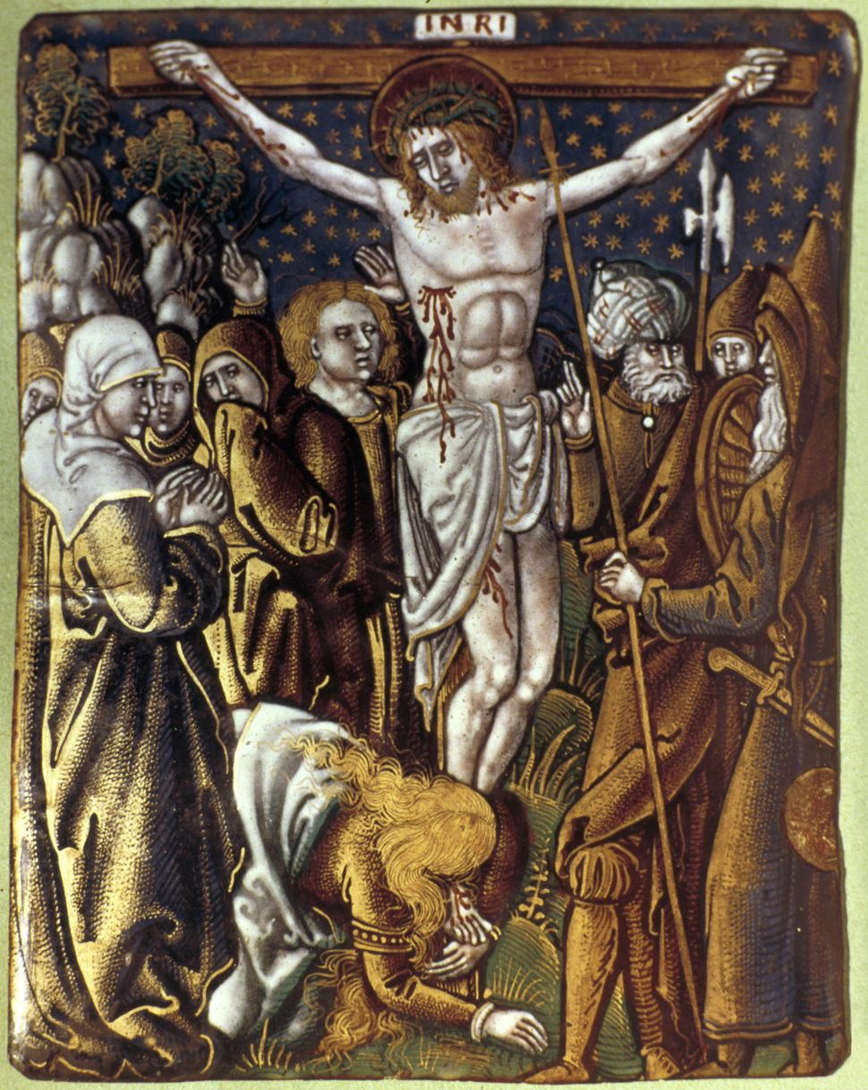 Crucifixion. Christ on the cross after side has been pierced by soldier's spear.  Enamel by Leonard Limousin (c1505-c1577) (P
