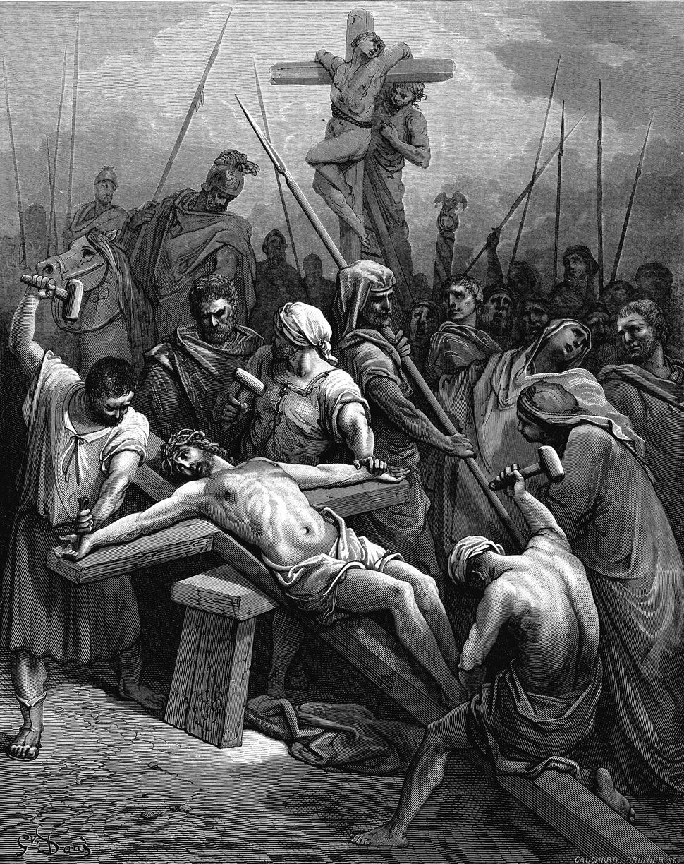 'Crucifixion'. Jesus nailed to the cross.  Illustration by Gustave Dore (1832-1883) for The Bible (London 1866). Wood engravi