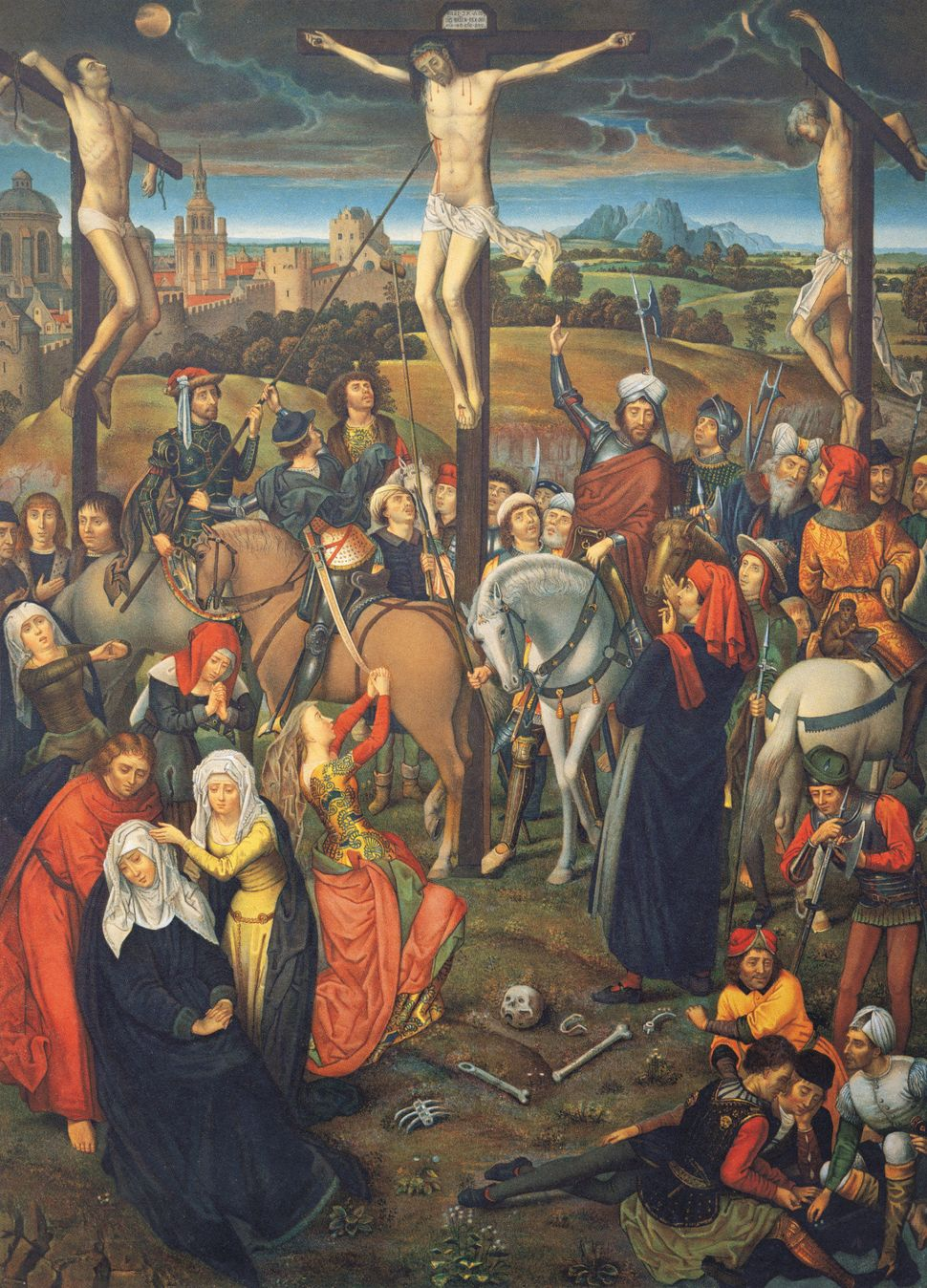 The crucifixion of Jesus Christ on Calvary, outside Jerusalem, 1491 A chromolithograph after Memling from the Passion Triptyc