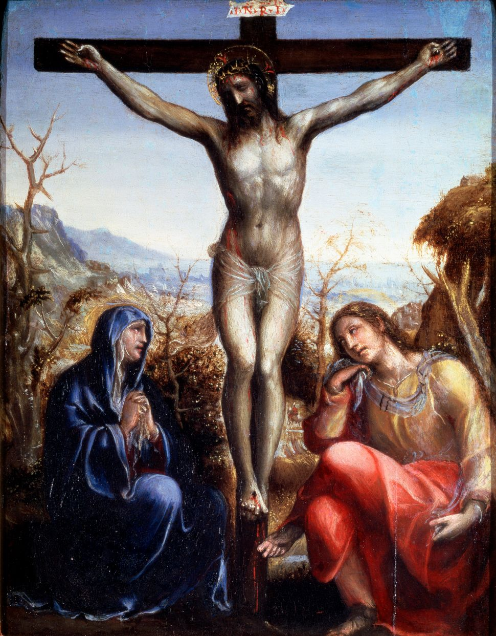 'The Crucifixion with the Virgin and John the Baptist', c1540. Found in the collection of the State A Pushkin Museum of Fine