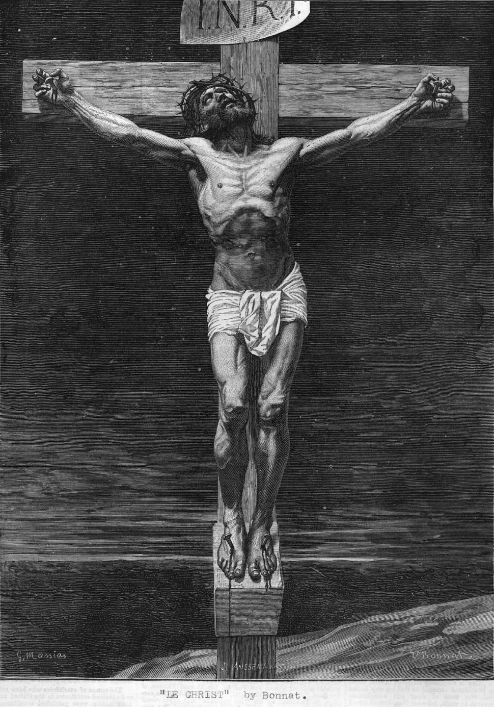 Jesus Christ on the cross Circa 29 AD Original Artwork: A painting by Bonnet. (Photo by Hulton Archive/Getty Images)
