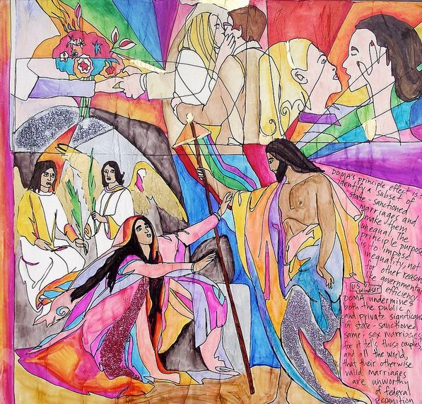 """Mary Magdalene meets the plaintiffs of DOMA and Proposition 8. <a href=""""http://www.believeoutloud.com/latest/resurrection-chr"""