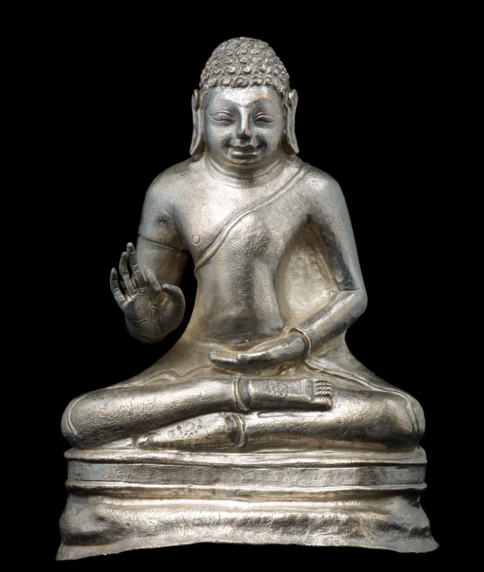 Buddha Preaching, Silver, Lent by National Museum of Myanmar, Yangon, Photo: Thierry Ollivier