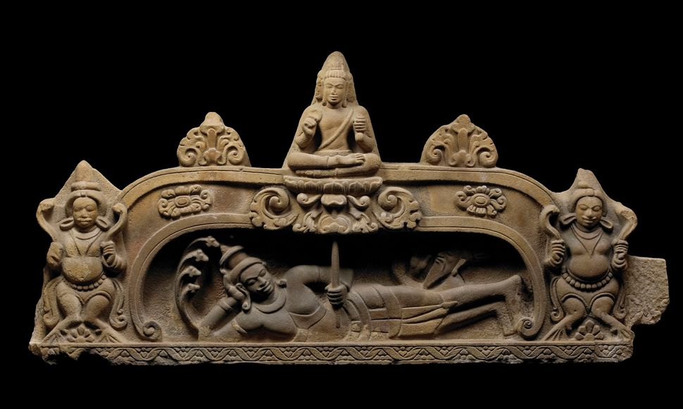 Tympanum Depicting Vishnu Anantasayin and the Birth of Brahma, Sandstone, Lent by Museum of Cham Sculpture, Da Nang, Vietnam,