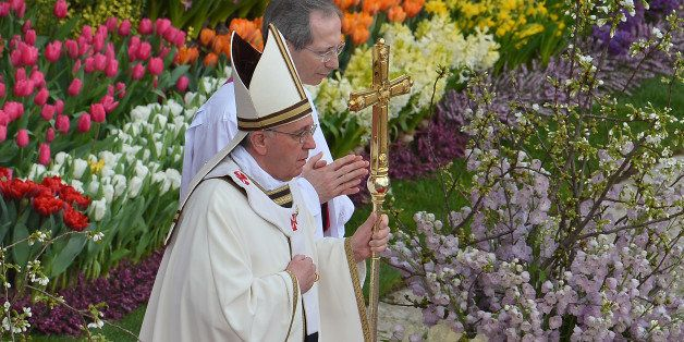 Pope Francis leads the Easter celebrations on St Peter's square on March 31, 2013 at the Vatican. Easter Sunday celebrates th