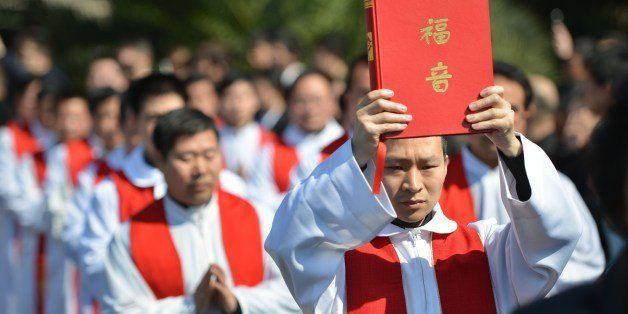 Clergy arrive for the funeral of the late head of the underground Catholic Church in Shanghai, Bishop...