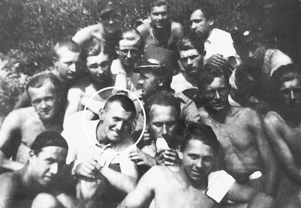 Young Karol Wojtyla (Pope John Paul II) in the camp of military training in Hermanowice near Skoczow in the south Poland. Pho
