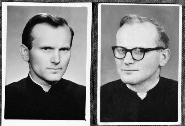 Portraits of Pope John Paul II, then Karol Wojtyla are seen. On the left - 1946 before his orders. (Photo by Laski Diffusion/