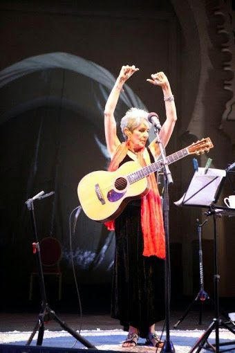 Joan Baez acknowledges applause at at the Bab Makina in 2012.  The iconic American folk singer presented a panorama of much l