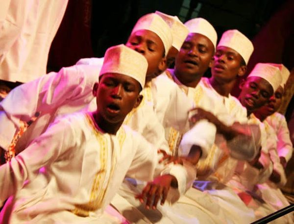 The Mtendeni Maulid Ensemble from Zanzibar performs a visually arresting style of Sufi religious devotion called Maulidi ya H