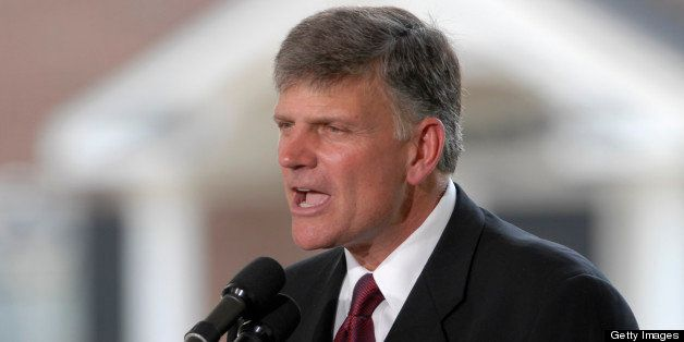CHARLOTTE, NC - MAY 31:  Franklin Graham, son of Evangelist Billy Graham, addresses the audience from the stage during the Bi