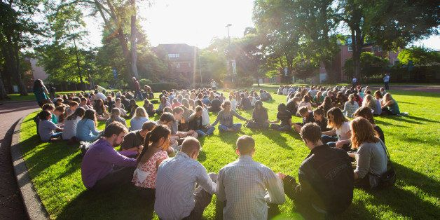 SEATTLE, WA - JUNE 05:  Students mourn on campus after a shooting at Seattle Pacific University on June 5, 2014 in Seattle, W