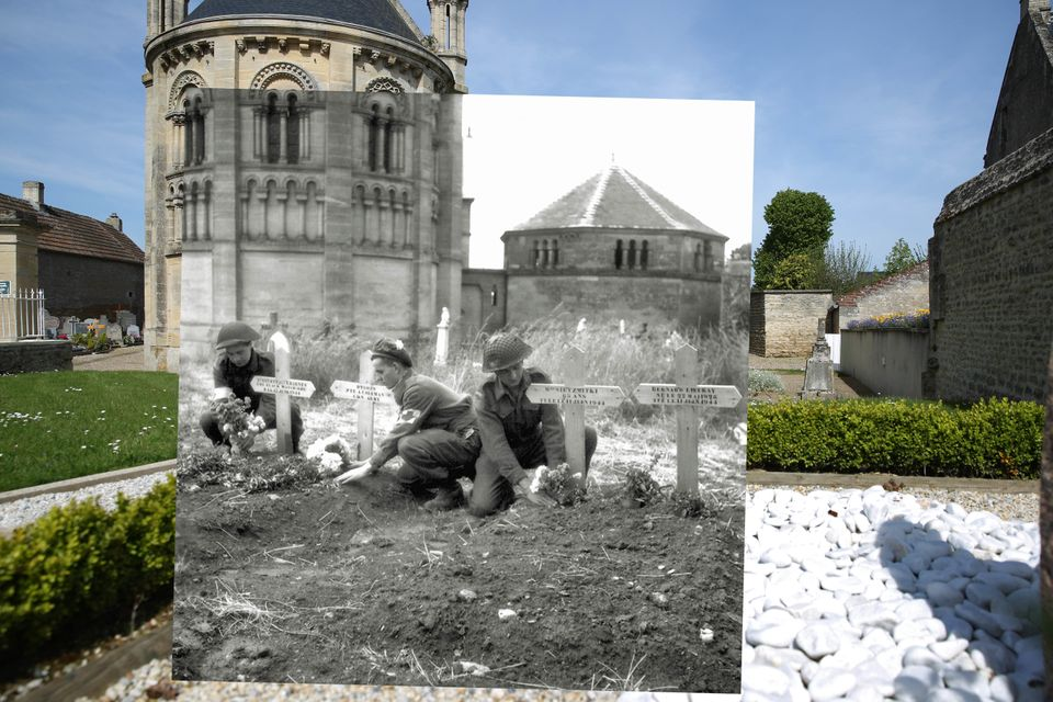 In this composite image a comparison has been made of Basly, France.   A view of the graveyard with the church of Saint Georg