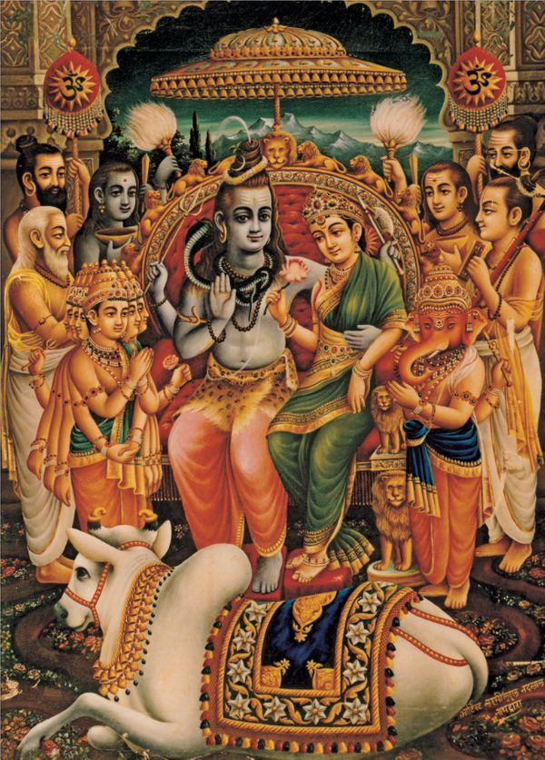 """""""Parvati is the form of the Goddess most closely associated with Shiva. In many popular images, the two are shown locked in a"""