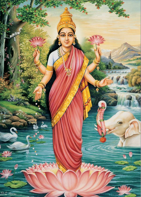 """For most Hindu families today, Lakshmi is the goddess of the household. The scriptures describe her as the goddess of prospe"