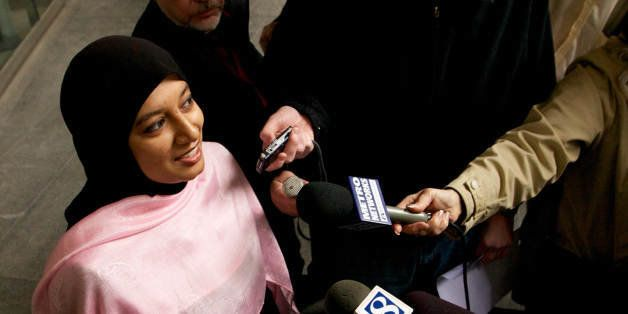 PORTLAND, OREGON - NOVEMBER 29: Saba Ahmed, a friend of the family of Mohamed Osman Mohamud, speaks to the media after Mohame