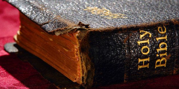 old and damaged holy bible...