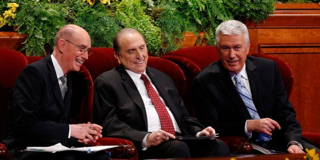SALT LAKE CITY, UT - APRIL 5: President Thomas Monson, (C), First Counselor Henry Eyring, (L) and Second Counselor Dieter Uch