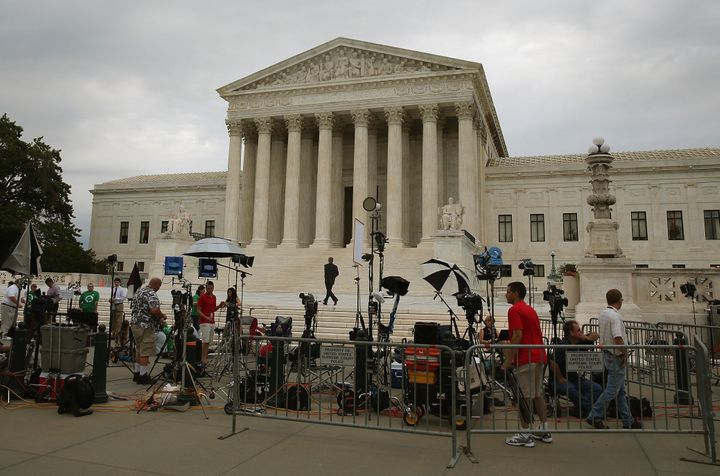 WASHINGTON, DC - JUNE 30:  Media of the media are set up in front of the U.S. Supreme Court, June 30, 2014 in Washington, DC.