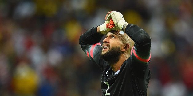 SALVADOR, BRAZIL - JULY 01: Tim Howard of the United States reacts during the 2014 FIFA World Cup Brazil Round of 16 match be