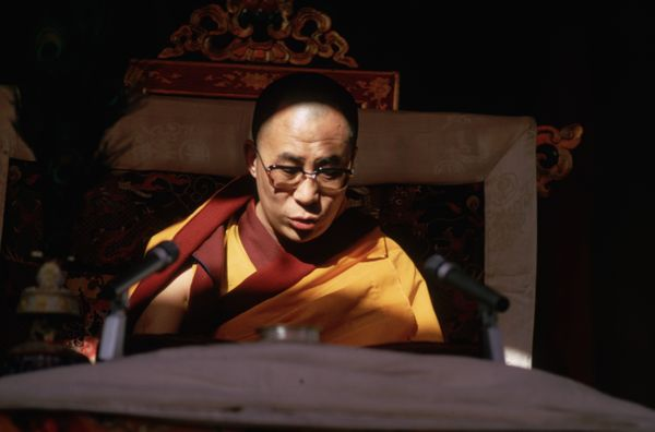 Feb. 1974: the Dalai Lama officiates at the Kalachakra Initiation Ceremony held in Bodh Gaya (place of the Buddha) in the sta