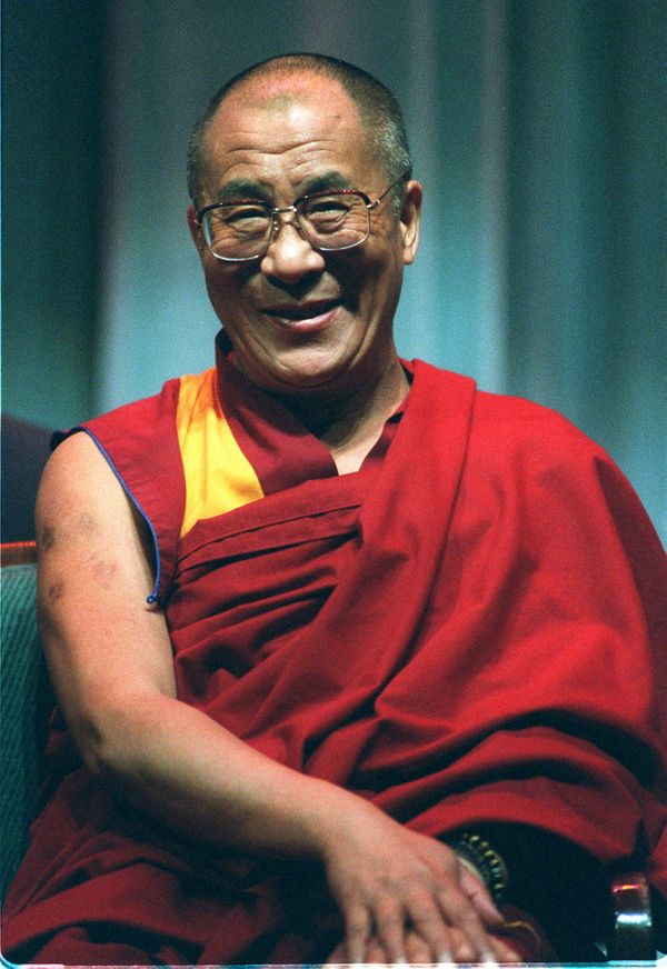 The Dalai Lama at the Simon Wiesenthal Museum of Tolerance in Beverly Hills, California on Aug. 2, 1996.