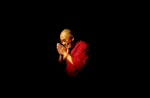 The Dalai Lama appears at the University of California Los Angeles to give a public teaching May 26, 2001.