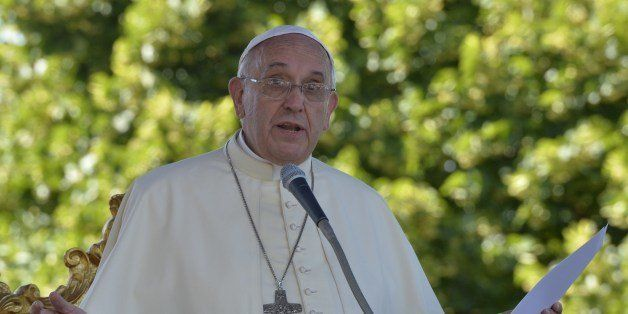 Pope Francis delivers a speech during a meeting with youth of the diocese on July 5, 2014 in Castelpetroso, southern Italy, a