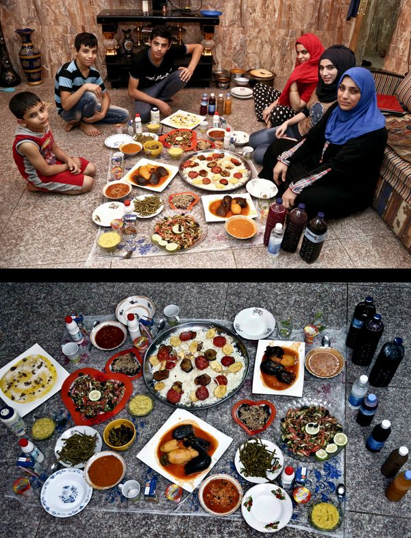 This combination of two photos taken on Sunday, July 6, 2014, shows an Iraqi family waiting to break their fast, top, and the