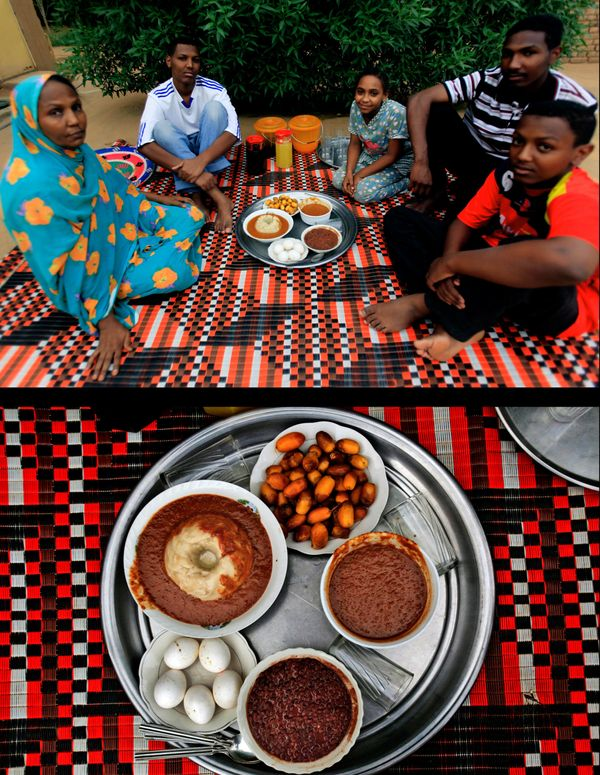 This combination of two photos taken on Tuesday, July 15, 2014, shows a Sudanese family waiting to break their fast, top, and